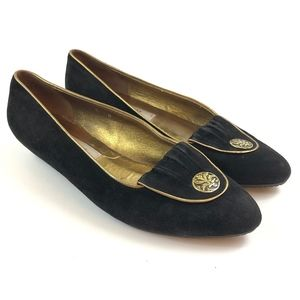 Bally Suede Pointed Toe Flats Gold Emblem Trim